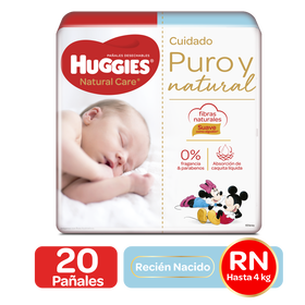 Pañales Huggies Natural Care Recien Nacido - 20uds