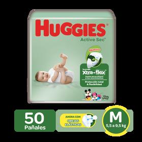 Pañales Huggies Active Sec Xtra-Flex Talla M; 50uds