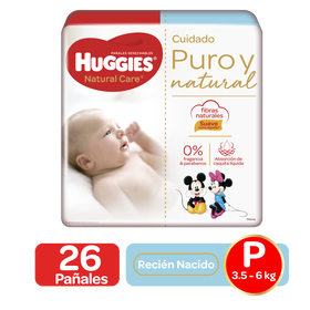 Pañales Huggies Natural Care Talla P - 26uds