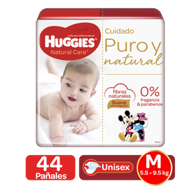 Pañales Huggies Natural Care Talla M - 44uds