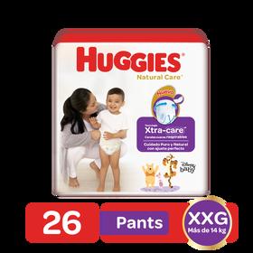 Pañales Huggies Natural Care Talla XXG - 26uds