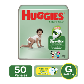 Pañales Huggies Active Sec Xtra-Flex Talla G; 50uds