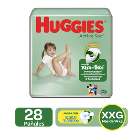 Pañales Huggies Active Sec Xtra-Flex Talla XXG - 28uds